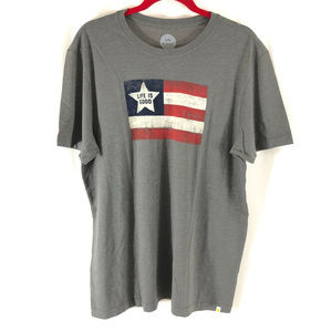 Life is Good Mens Cool Tee Classic Fit Shirt Flag